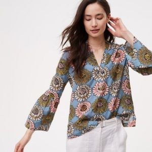 LOFT | Softened Marigold Bell Sleeve Top Blue